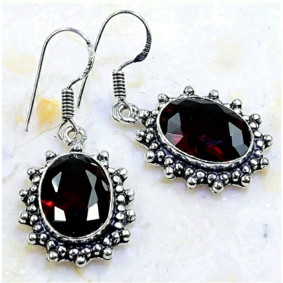 Garnet ~ Handcrafted 925SS Earrings